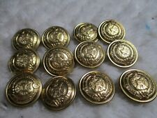 "12 SCOTTISH HIGHLAND METAL 3/4"" GOLD TONE BLAZER BUTTONS old store stock"