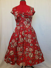 Hell Bunny Sasha Red Sugar Skull Vintage Pin up Rockabilly Swing Dress Size M