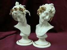 "Porcelain Capodimonte, G.Cappè ""Couple Half bust Bacchus and Arianna White gold"