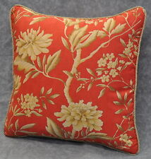 "Pillow made w Ralph Lauren Villa Camelia Red Orange Floral Fabric 16"" trim cord"
