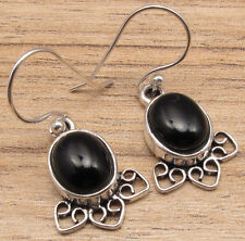 "Oval Gemstones Deco Earrings 1.4"" 925 Silver Plated Black Onyx"