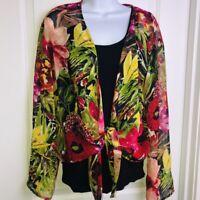 CHICOS Sz 3 Tie Waist Floral Chiffon Blouse XL Bright Tropical Floral Print Top