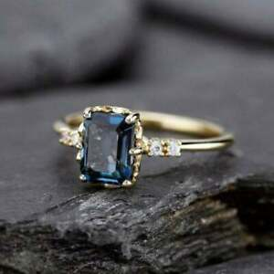 2Ct Emerald Cut Blue Diamond Women' Engagement Ring Solid 14K Yellow Gold Finish