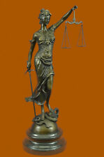Hot Cast Bronze Sculpture Statue Lady of Blind Justice Scales Sword Marble Base
