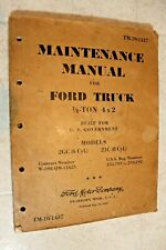 original Army issue Maintenance Manual for Ford Truck 1/2 ton 4x2 Tm 10-1437
