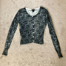 Black White Floral Lace Print Pearl Button Up Down Cotton Sweater Cardigan Top M