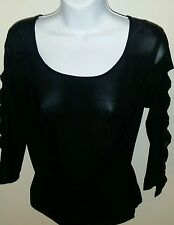 BALLROOM LATIN RHYTHM COMPETITION DANCE DRESS TOP LADIES LARGE/XLARGE BLACK NWT