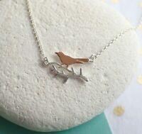 Sterling Silver Rose Gold Vermeil Bird on a Branch Necklace - UK Seller
