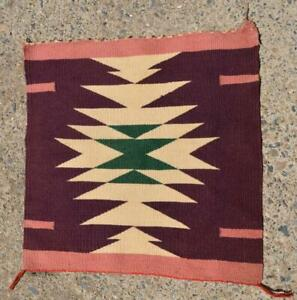 "Vintage Navajo Germantown Sampler ~  Circa 1900-1920'S ~ 18.25"" x 18.25"""