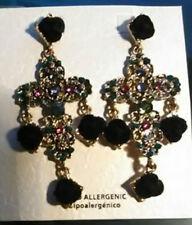 Fashion Women Gold Tone Cross Gemstone Black Floral Ear Stud Dangle Earrings