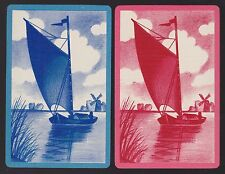 2 Single VINTAGE Swap/Playing Cards DUTCH SCENE WINDMILL & SAIL BOAT