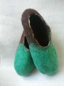Green Brown Slippers 100% wool merino blend Felt Houseshoe Handmade in US felted