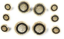 Button Set ,, Black  Gold Diamond Cut Center  Buttons  10 Pc.
