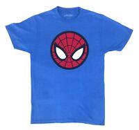Marvel Men's Spider-Man Classic Icon Logo Licensed T-Shirt Heather Blue New