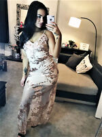 Sequin Chiffon Maxi Evening Dress Full Length Nude Cocktail Womens Ladies