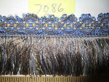 "9 yards Decorative SKIRT FRINGE 3 1/2"" French Blue/Taupe-Grey  Fabric Trim A7086"