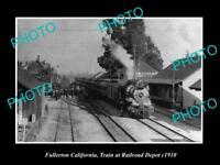 OLD LARGE HISTORIC PHOTO OF FULLERTON CALIFORNIA, RAILROAD DEPOT STATION c1910