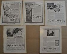 1914-16 ELGIN WATCH advertisements x5, Pocket Watches