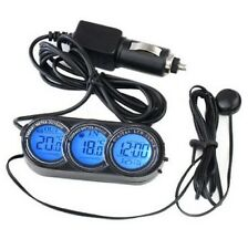 12V LCD THERMOMETER AND CLOCK FOR CAR/VAN WITH ORANGE/BLUE BACK LIGHT 12 VOLT