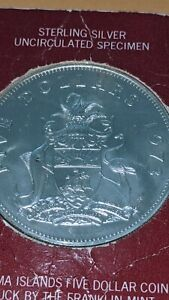 1973 SILVER $5 Five Dollars of Bahamas sealed 1.25 Troy Oz m45