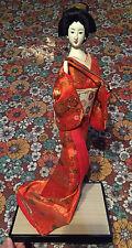 "VTG Japanese Asian Oriental Geisha Girl 18"" Doll Silk Kimono Nishi"