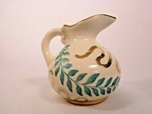 MCM Turquoise Teal Gold Trim Leaf Motif Porcelain Pitcher Creamer Hand Painted