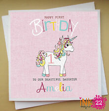 Personalised Pink Girls Birthday Card 1st 2nd 3rd 4th 5th Birthday 'Unicorn'.