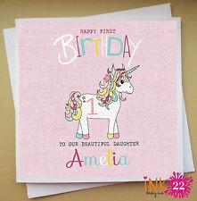 Personalised Pink Girls Birthday Card 1st 2nd 3rd 4th 5th Birthday 'Unicorn'.