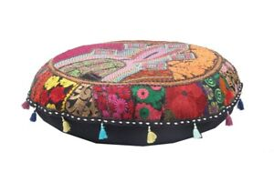 Pouff Covers Indian Patchwork Handmade Footstool Vintage Round Ethnic Ottoman