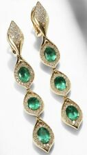 6Ct Oval Cut Emerald Simulant Diamond Chandelier Earrings Yellow Gold Fns Silver