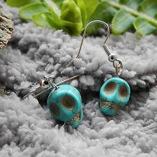 Turquoise Stone Skull Head Drop/Dangle Alloy Hook Earrings Gift 3.5cm