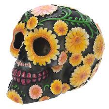 Totenkopf mit Blüten Schädel Gothic Skull Dekoration Larp 11,5cm Mystik Deko NEU