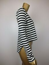 MINK PINK TOP WOOL CUTOUT STRIPED BLACK & WHITE HI LOW BLOUSE TOP - SMALL