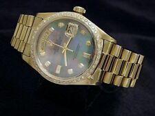 Mens Rolex Day-Date President 18k Gold Watch MOP Diamond Dial 1ct Bezel 18038