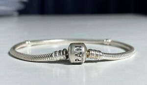 "Authentic PANDORA Silver Moments Barrel Clasp Charm Bracelet 7.9"" +Safety Chain"