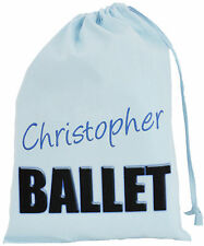 BLUE PERSONALISED - BALLET TEXT - SMALL COTTON DRAWSTRING BAG - Boys
