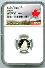 2020 CANADA 10 CENT SILVER PROOF NGC PF70 UCAM BLUENOSE DIME FIRST RELEASES