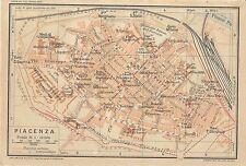 Carta geografica antica PIACENZA Pianta della città 1916 Old antique map