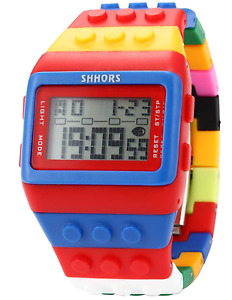 SHHORS Block Silicone LCD Digital Light Men's Ladies Sport Wrist Watch Red Blue