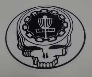 """New 4"""" Disc Golf Sticker.  White & Black."""
