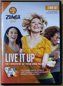 Zumba Gold: Live It Up • Get Groovin' At Your Own Pace w/ Guide [2-DVD Set] RARE