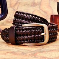 Belt Braided Brown Mens Genuine Leather Waistband Causal Luxury Style Belt Black