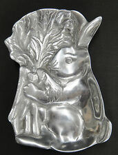 Cast Aluminum Metal Bunny Rabbit w Carrots Tray Dish 5x8 Figural Embossed Court