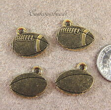 FOOTBALL Charms, TierraCast Charms, Antiqued Gold Plated, 4 Pieces, 6126