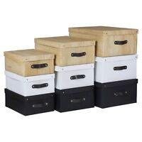 3 x Collapsible Storage Boxes Toys Clothes Chest Container With Lid Small Large