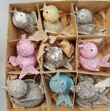 9 VINTAGE CARDBOARD BIRD CHRISTMAS ORNAMENTS - JAPAN