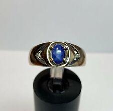Sapphire Diamond Right Hand Ring 14k Yellow Gold Blue Star