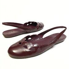@@ Cole Haan Burgundy Patent Leather Round Toe Slingback Flats 10 B Comfort EUC