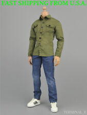 "1/6 Scale Long Sleeves Shirt Blue Jeans Set For 12"" Hot Toys Male Figure ❶USA❶"
