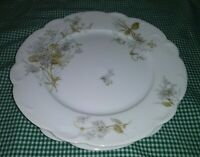 "Antique Set of 2 A Lanterier Limoges 9"" Luncheon Plates White Wildflowers 1891"